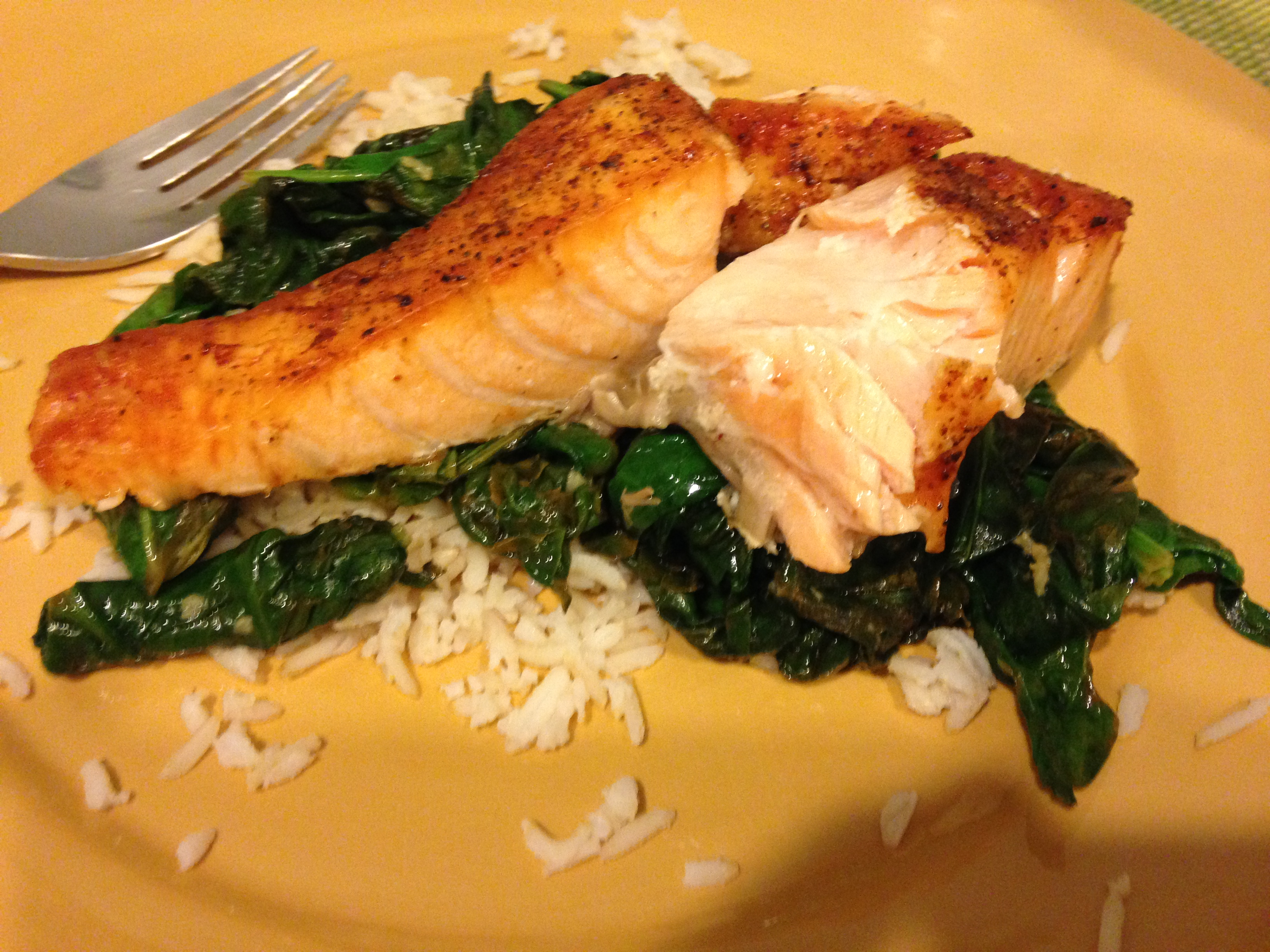 Cook it quick salmon with spinach a joint account salmon with spinach and brown rice salmon i buy mine in individual portions but you can cook larger pieces to feed many the same way brown rice ccuart Gallery